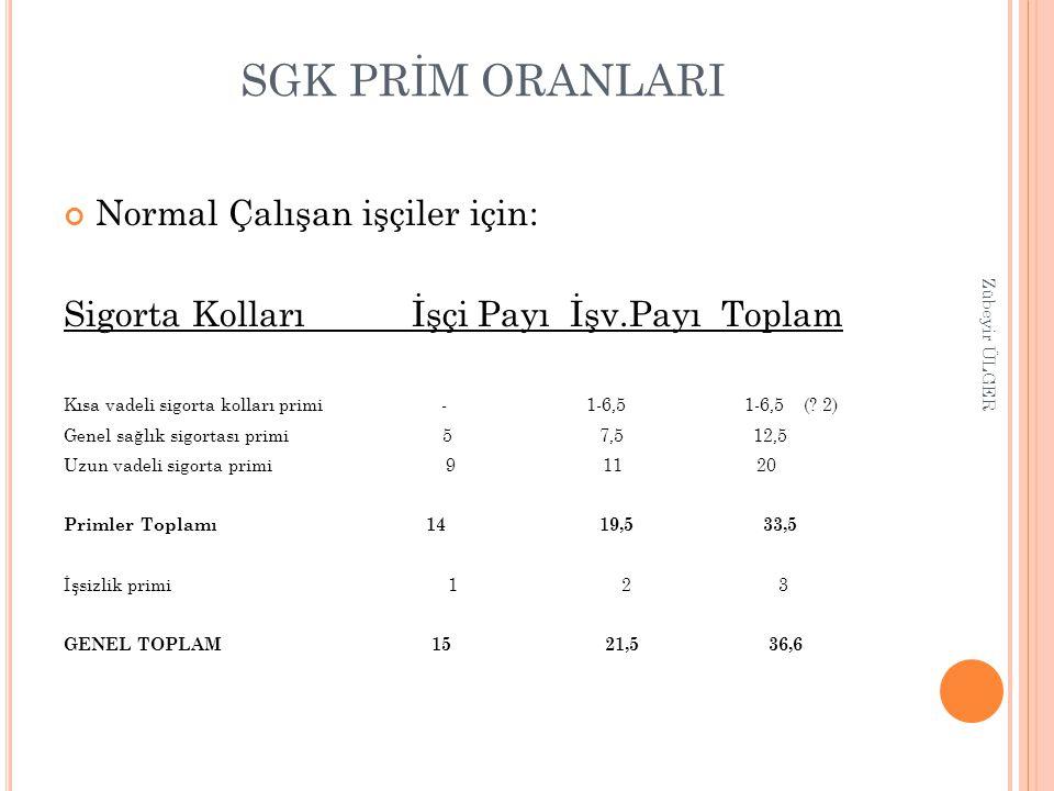 SGK PRİM ORANLARI Normal Çalışan işçiler için: