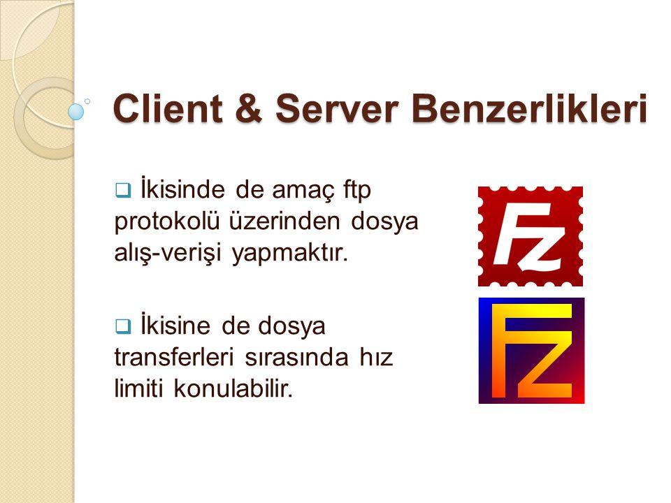 Client & Server Benzerlikleri