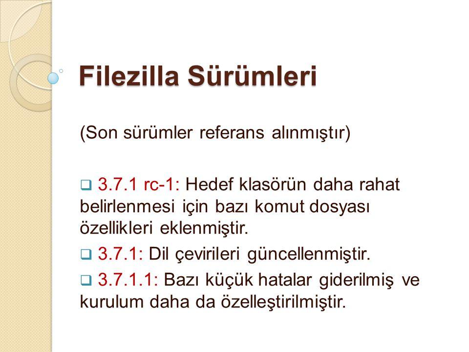 Filezilla Sürümleri (Son sürümler referans alınmıştır)