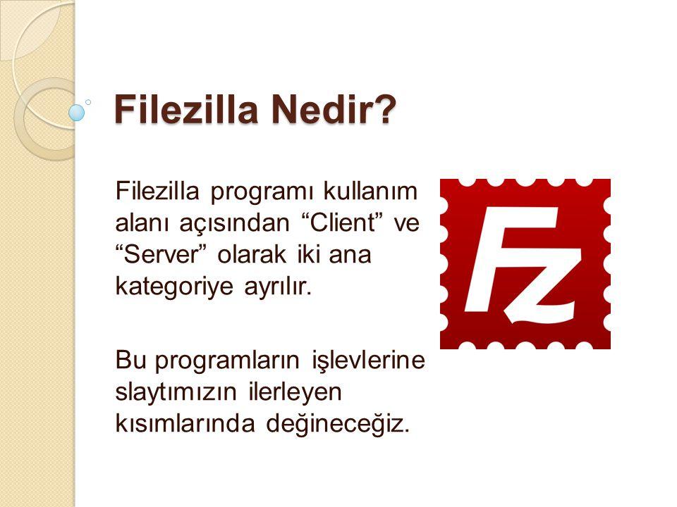 Filezilla Nedir Filezilla programı kullanım alanı açısından Client ve Server olarak iki ana kategoriye ayrılır.