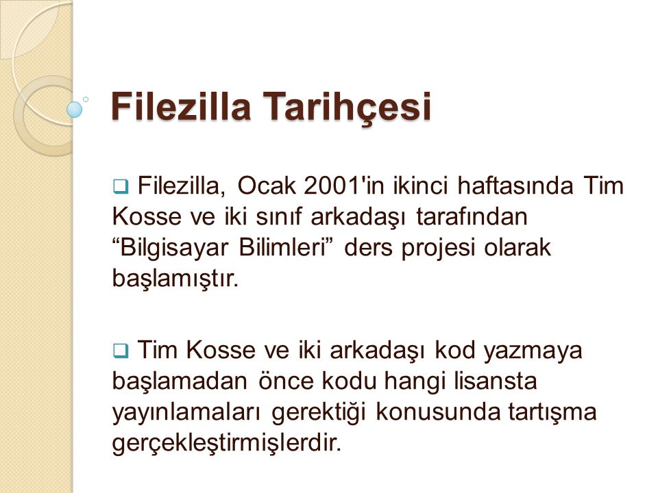 Filezilla Tarihçesi