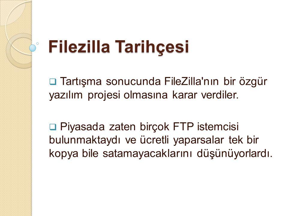 Filezilla Tarihçesi Tartışma sonucunda FileZilla nın bir özgür yazılım projesi olmasına karar verdiler.