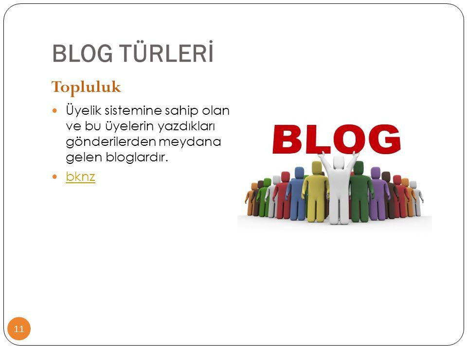 BLOG TÜRLERİ Topluluk. Üyelik sistemine sahip olan ve bu üyelerin yazdıkları gönderilerden meydana gelen bloglardır.