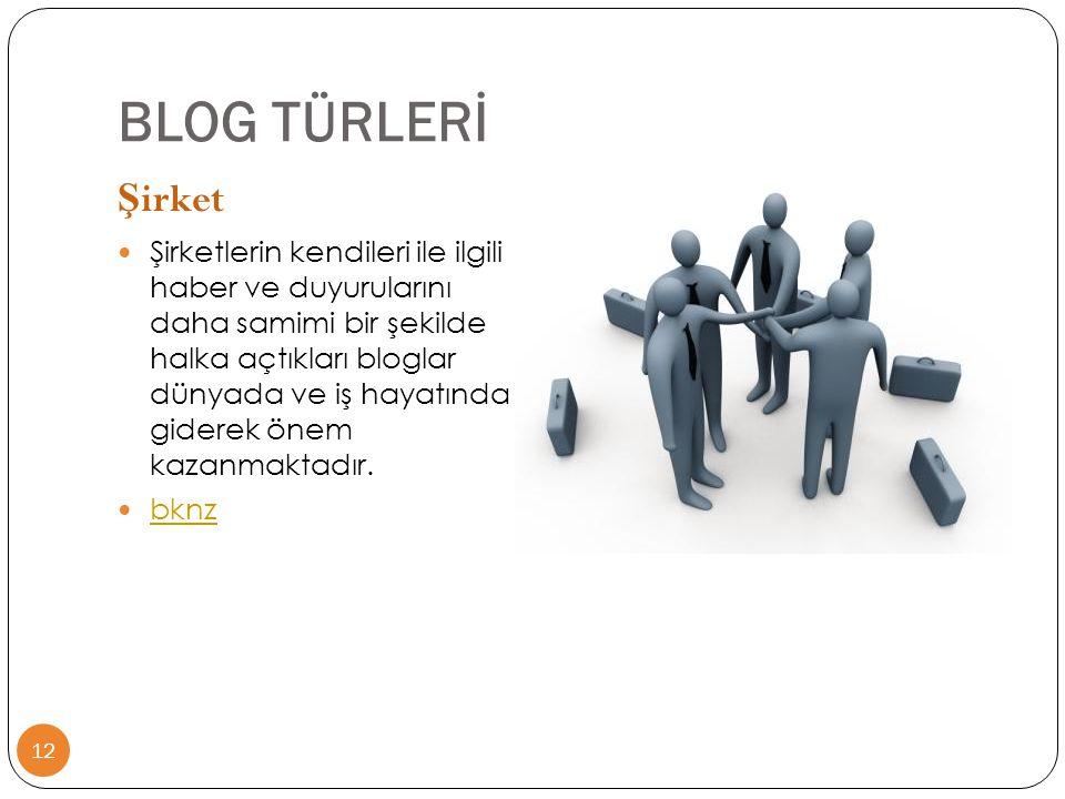 BLOG TÜRLERİ Şirket.