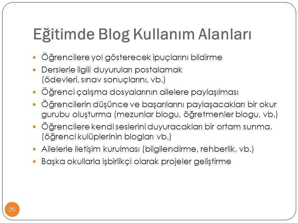 Eğitimde Blog Kullanım Alanları