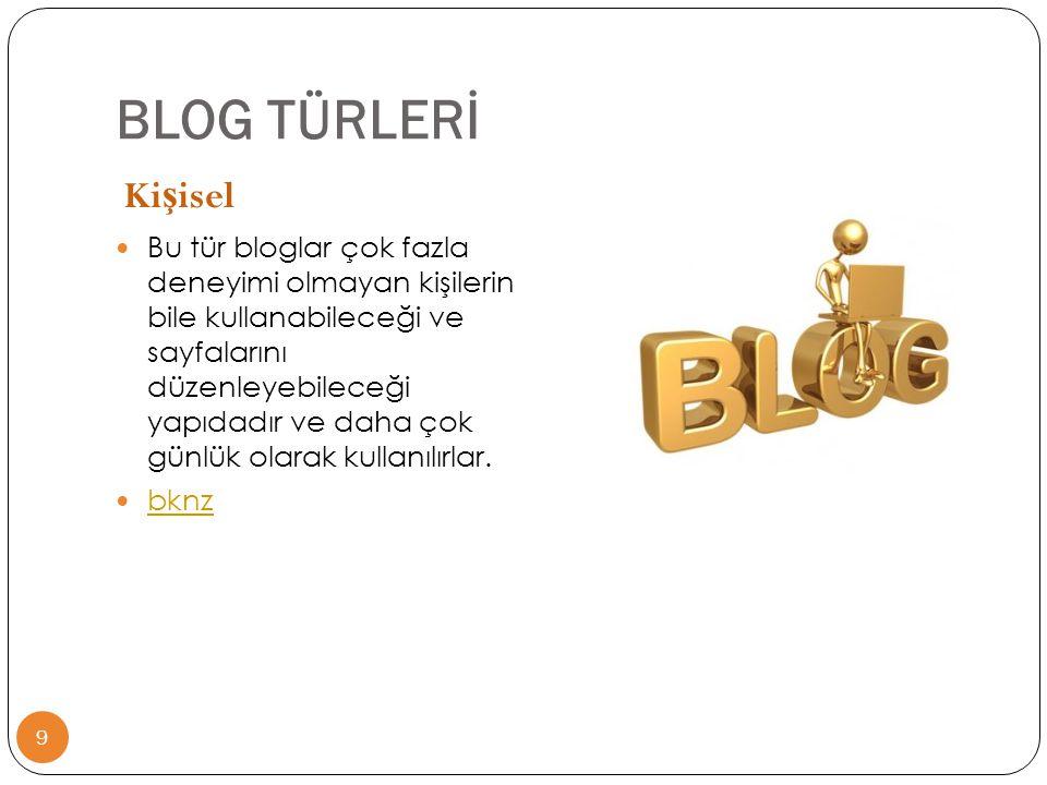 BLOG TÜRLERİ Kişisel.