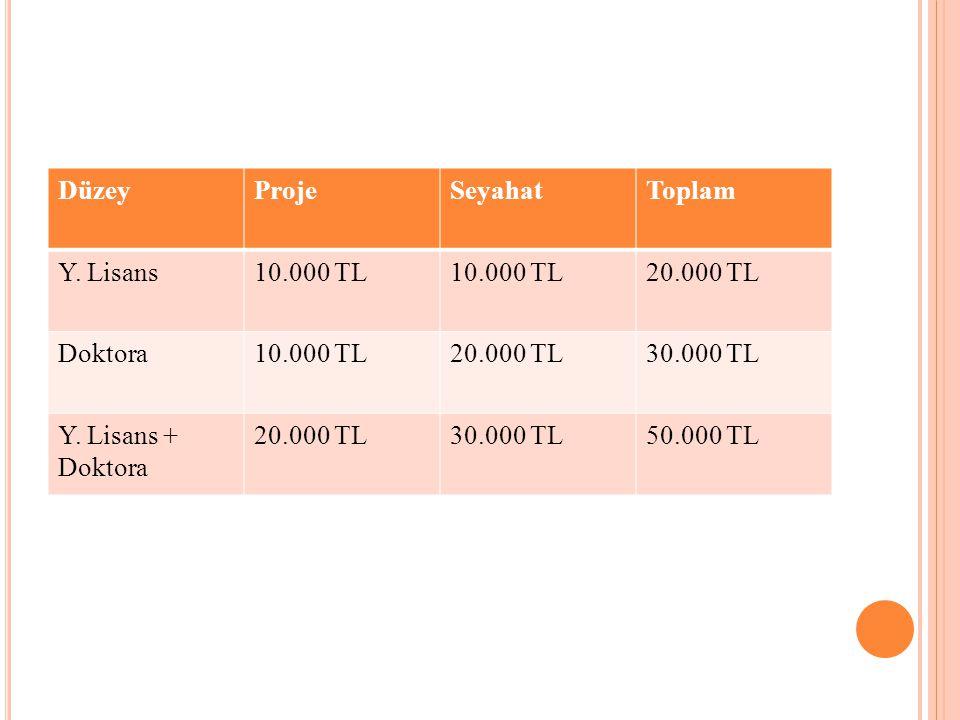 Düzey Proje. Seyahat. Toplam. Y. Lisans. 10.000 TL. 20.000 TL. Doktora. 30.000 TL. Y. Lisans + Doktora.