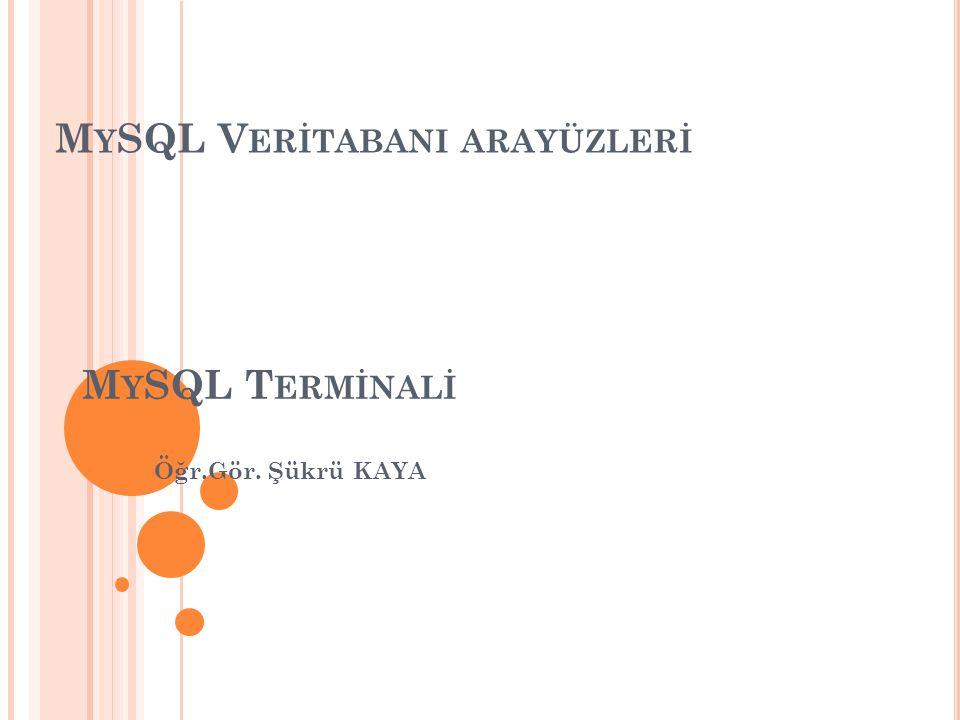 MySQL VerİtabanI arayüzlerİ