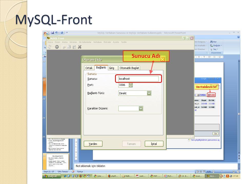 MySQL-Front Sunucu Adı