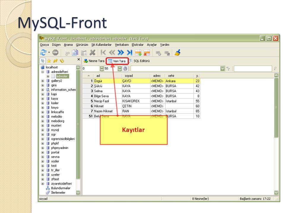 MySQL-Front Kayıtlar