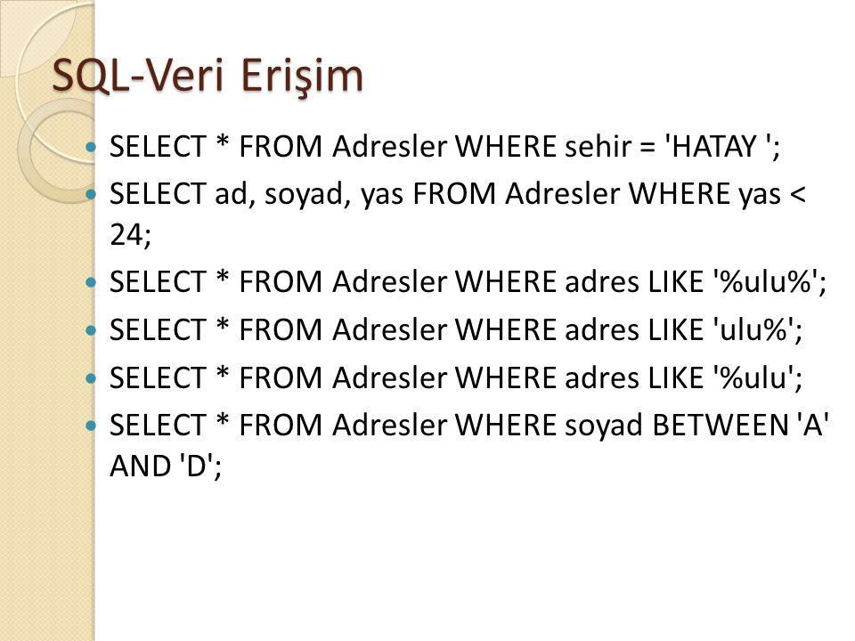 SQL-Veri Erişim SELECT * FROM Adresler WHERE sehir = HATAY ;