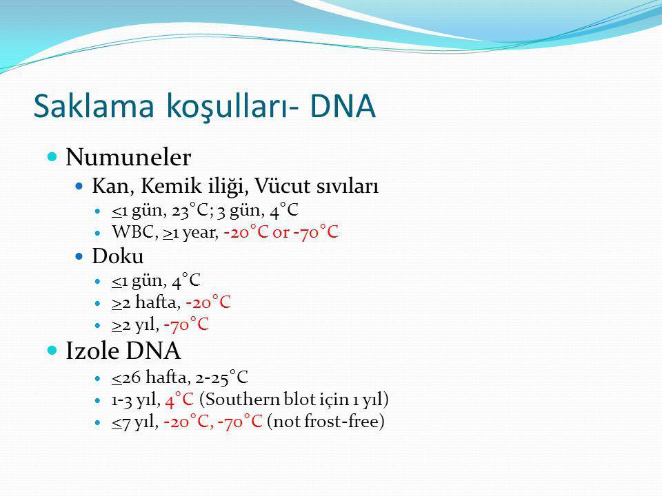 Saklama koşulları- DNA