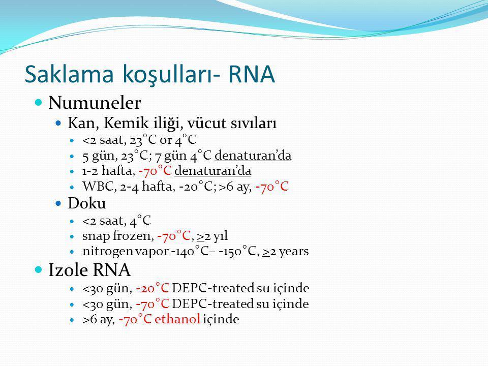 Saklama koşulları- RNA