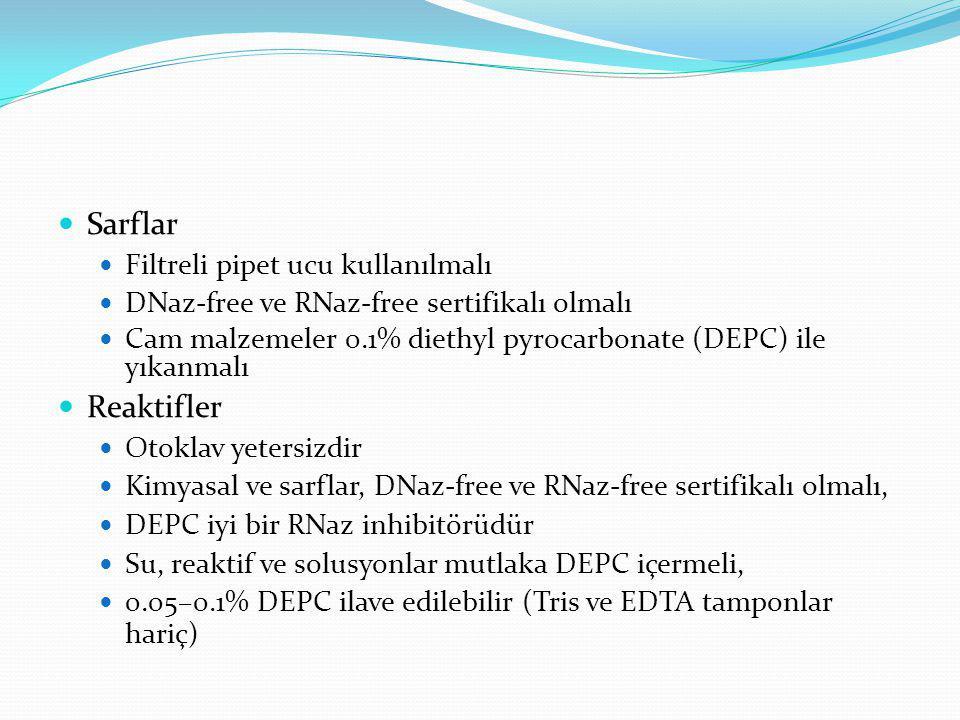 Sarflar Reaktifler Filtreli pipet ucu kullanılmalı