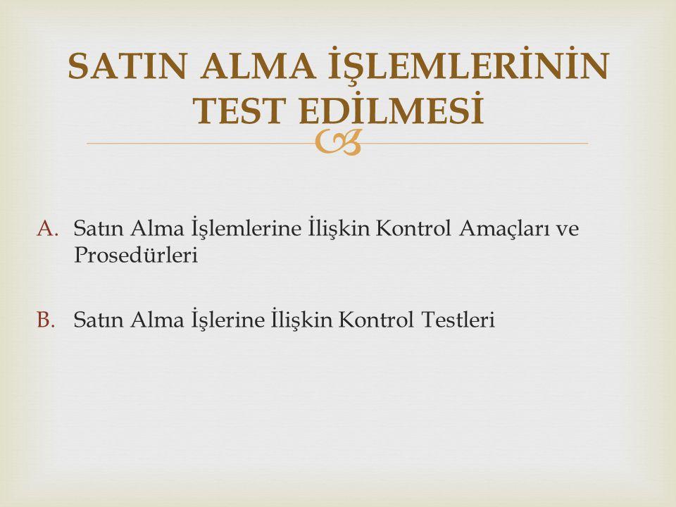 SATIN ALMA İŞLEMLERİNİN TEST EDİLMESİ