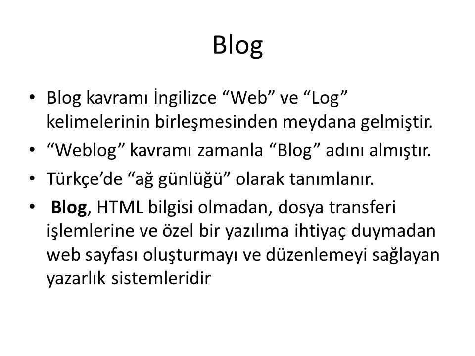 Blog Blog kavramı İngilizce Web ve Log kelimelerinin birleşmesinden meydana gelmiştir. Weblog kavramı zamanla Blog adını almıştır.