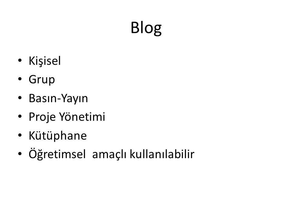Blog Kişisel Grup Basın-Yayın Proje Yönetimi Kütüphane