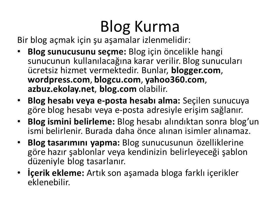 Blog Kurma Bir blog açmak için şu aşamalar izlenmelidir: