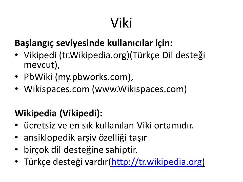 Viki Başlangıç seviyesinde kullanıcılar için: