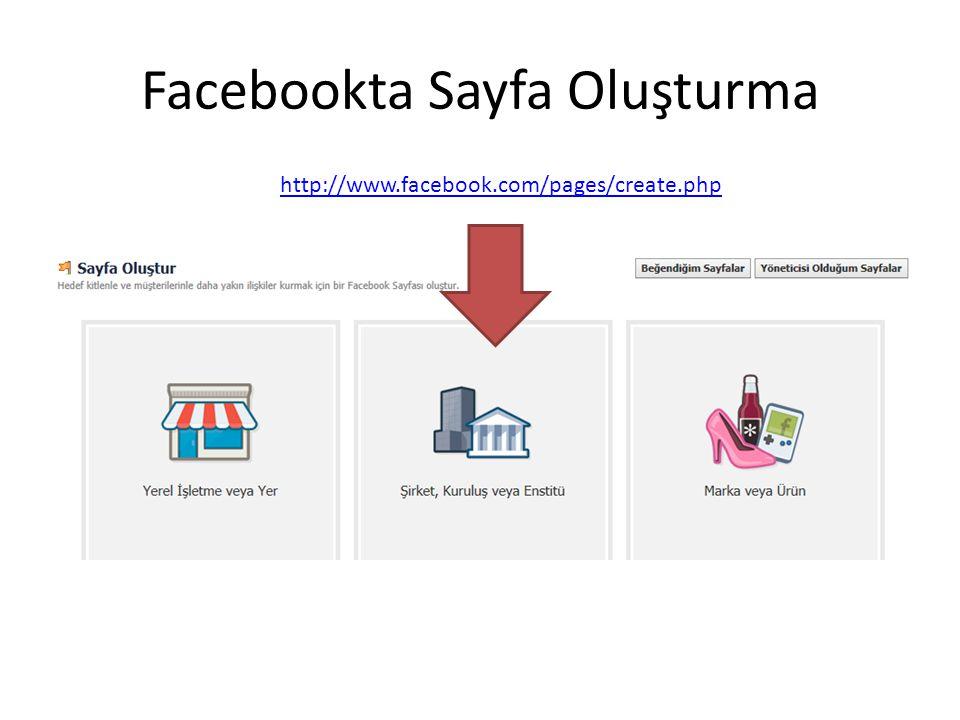 Facebookta Sayfa Oluşturma