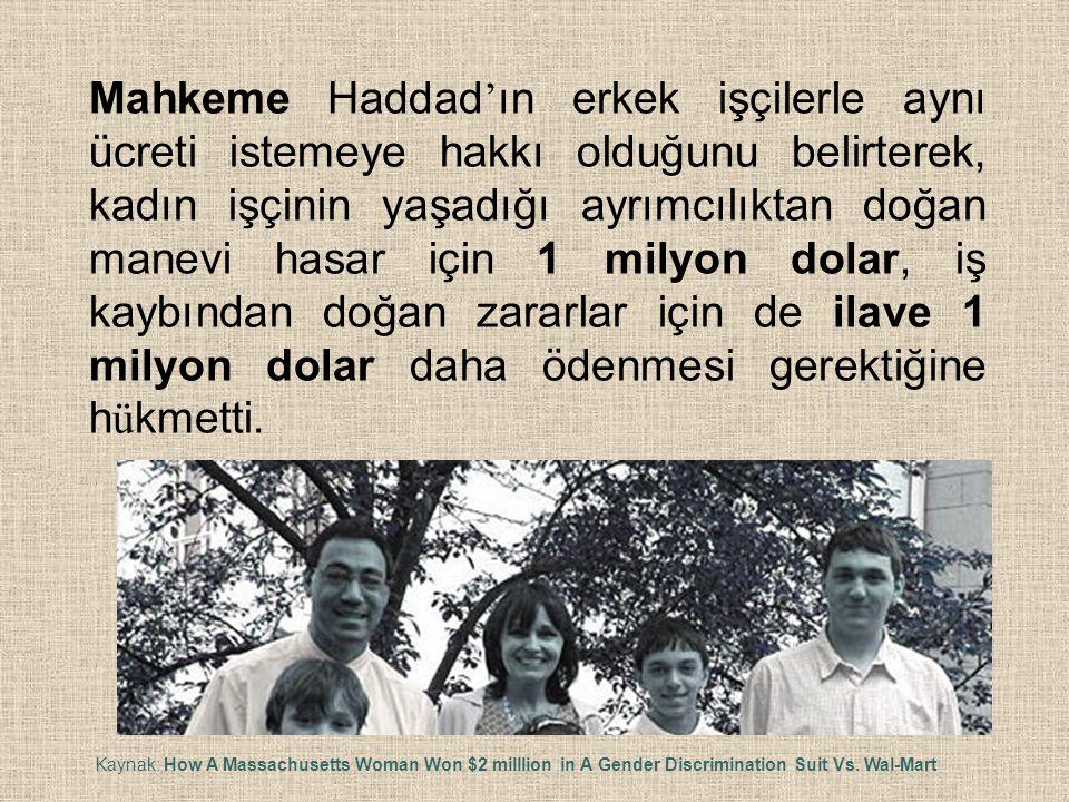 Mahkeme Haddad'ın erkek işçilerle aynı ücreti istemeye hakkı olduğunu belirterek, kadın işçinin yaşadığı ayrımcılıktan doğan manevi hasar için 1 milyon dolar, iş kaybından doğan zararlar için de ilave 1 milyon dolar daha ödenmesi gerektiğine hükmetti.