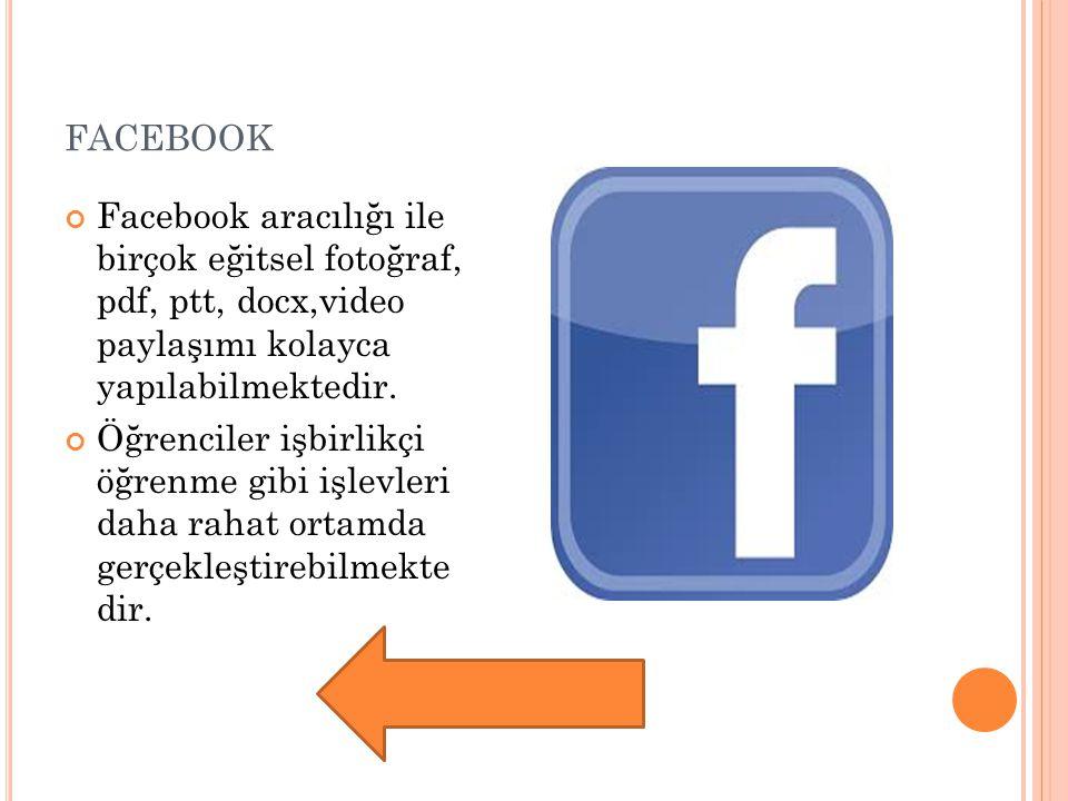facebook Facebook aracılığı ile birçok eğitsel fotoğraf, pdf, ptt, docx,video paylaşımı kolayca yapılabilmektedir.