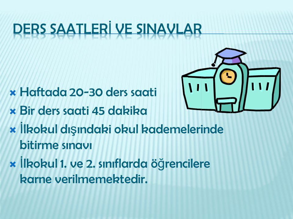 DERS SAATLERİ VE SINAVLAR