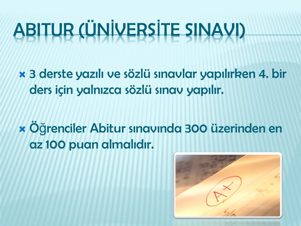 ABITUR (ÜNİVERSİTE SINAVI)