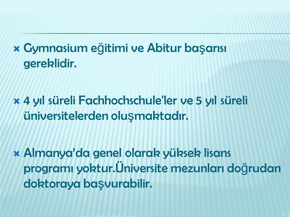 Gymnasium eğitimi ve Abitur başarısı gereklidir.