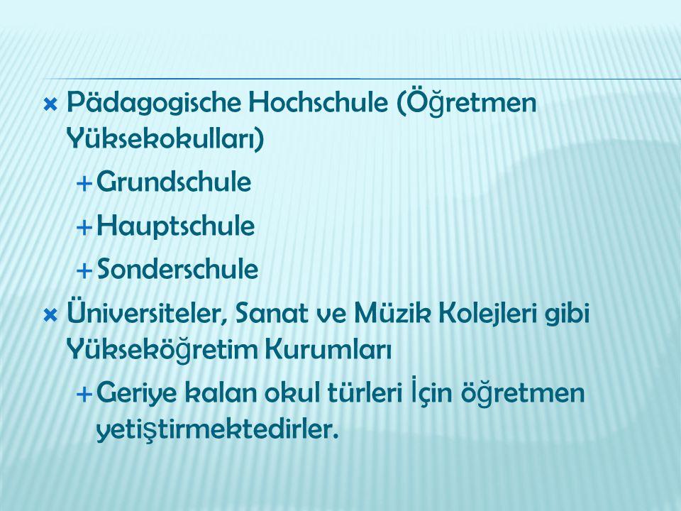 Pädagogische Hochschule (Öğretmen Yüksekokulları)