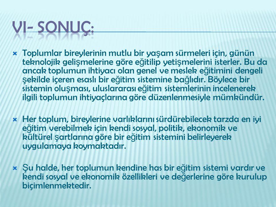 VI- Sonuç: