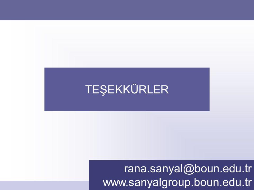 TEŞEKKÜRLER rana.sanyal@boun.edu.tr www.sanyalgroup.boun.edu.tr