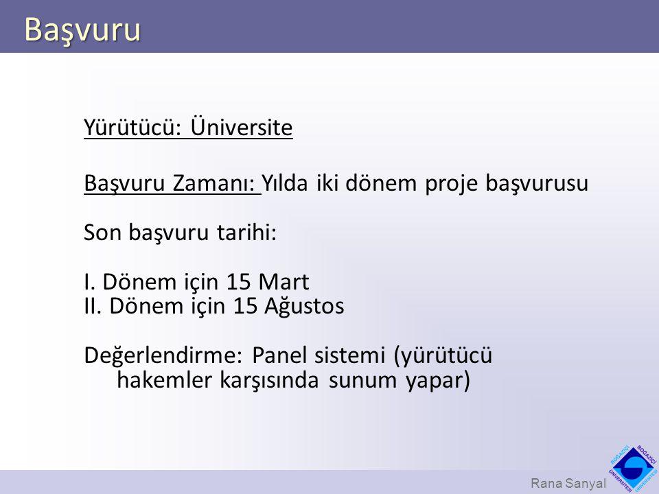 Başvuru Yürütücü: Üniversite