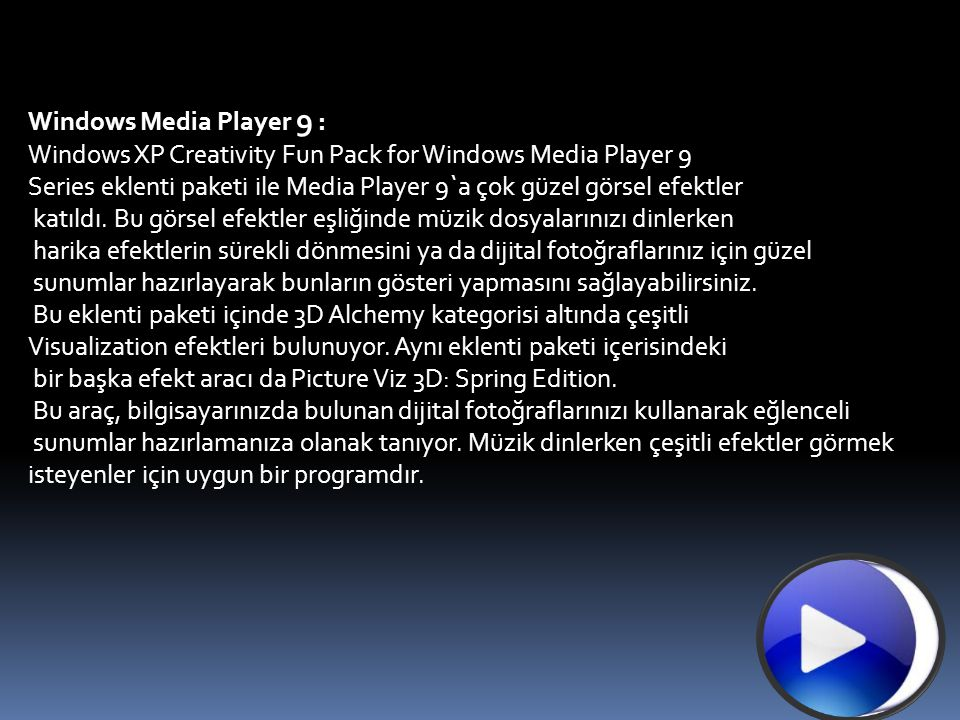 Windows Media Player 9 : Windows XP Creativity Fun Pack for Windows Media Player 9
