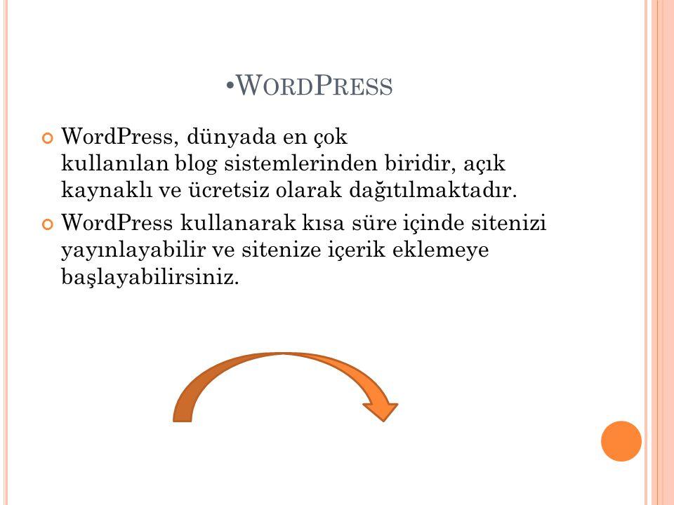 WordPress WordPress, dünyada en çok kullanılan blog sistemlerinden biridir, açık kaynaklı ve ücretsiz olarak dağıtılmaktadır.