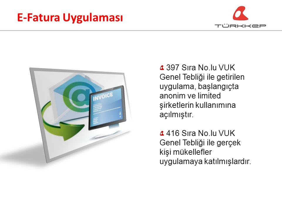 E-Fatura Uygulaması 397 Sıra No.lu VUK Genel Tebliği ile getirilen uygulama, başlangıçta anonim ve limited şirketlerin kullanımına açılmıştır.