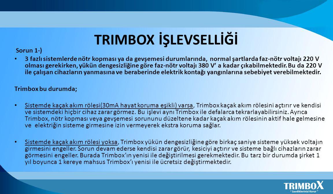 TRIMBOX İŞLEVSELLİĞİ Sorun 1-)
