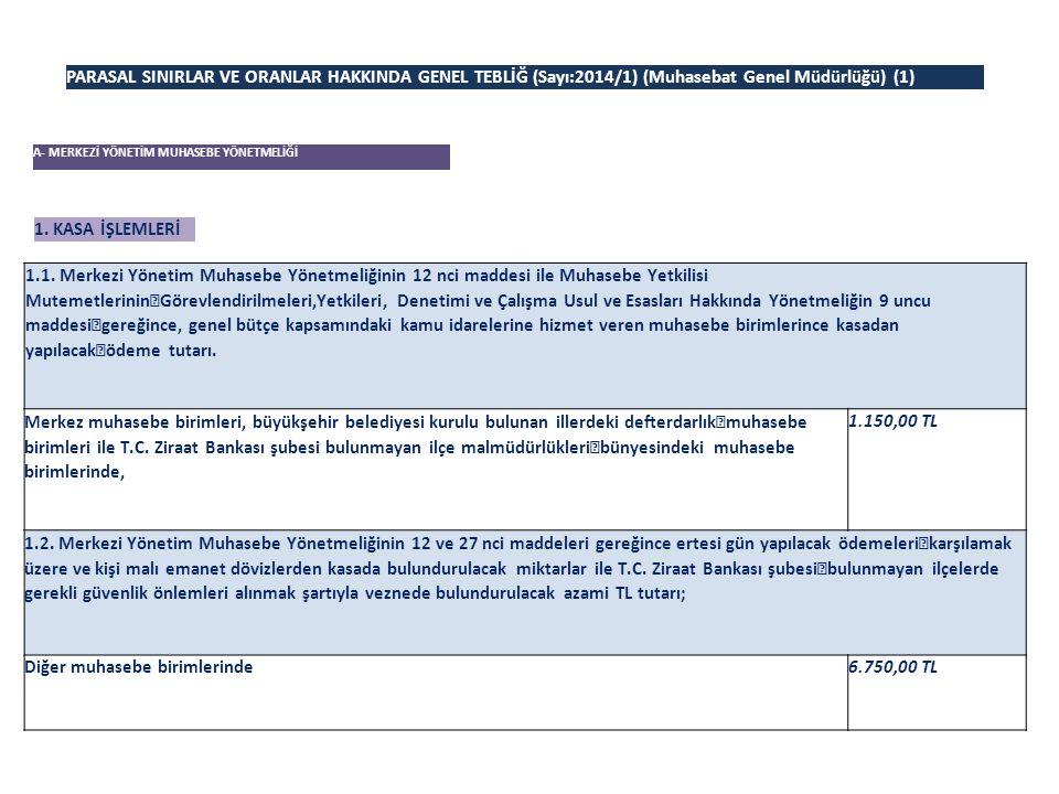 PARASAL SINIRLAR VE ORANLAR HAKKINDA GENEL TEBLİĞ (Sayı:2014/1) (Muhasebat Genel Müdürlüğü) (1)