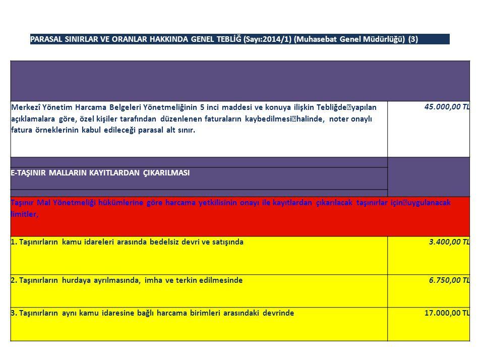 PARASAL SINIRLAR VE ORANLAR HAKKINDA GENEL TEBLİĞ (Sayı:2014/1) (Muhasebat Genel Müdürlüğü) (3)