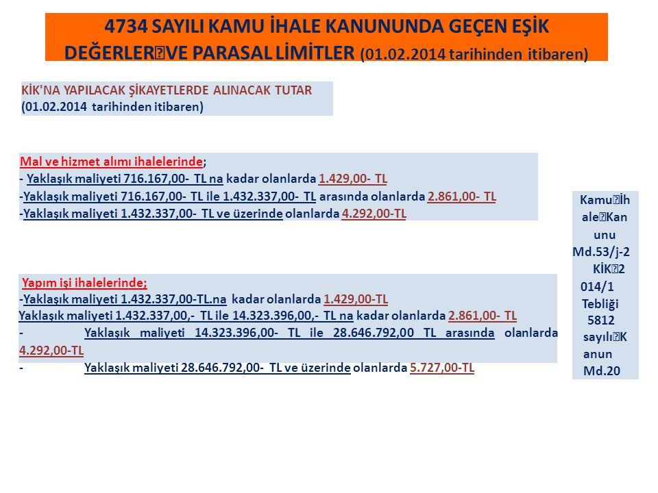 4734 SAYILI KAMU İHALE KANUNUNDA GEÇEN EŞİK DEĞERLER VE PARASAL LİMİTLER (01.02.2014 tarihinden itibaren)