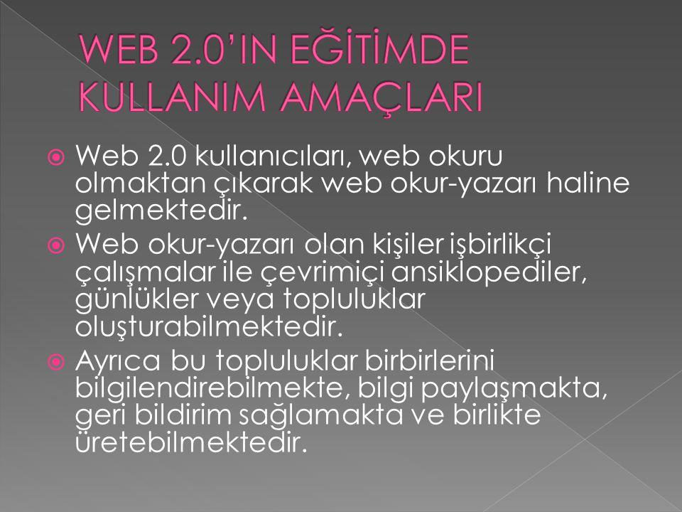 WEB 2.0'IN EĞİTİMDE KULLANIM AMAÇLARI