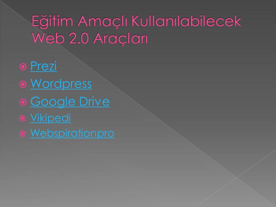 Eğitim Amaçlı Kullanılabilecek Web 2.0 Araçları