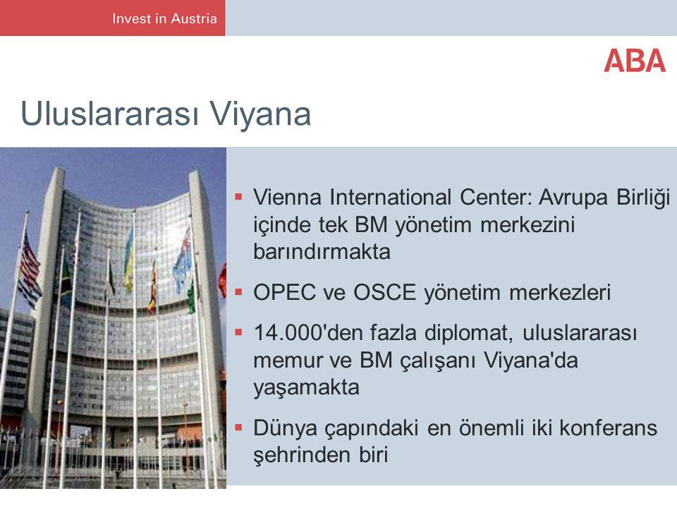 Uluslararası Viyana Vienna International Center: Avrupa Birliği içinde tek BM yönetim merkezini barındırmakta.