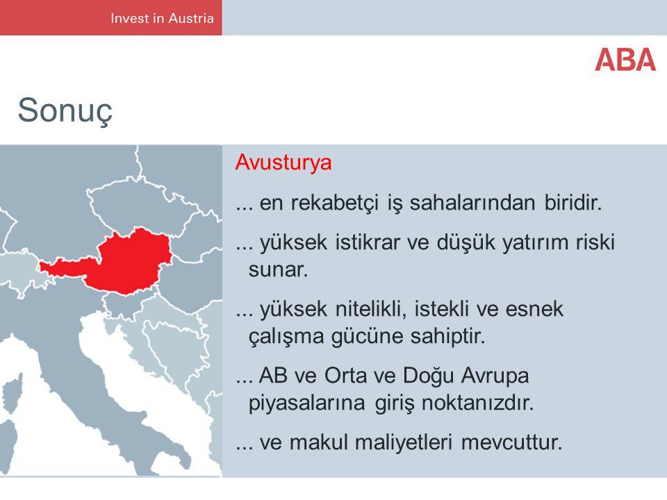 Sonuç Avusturya ... en rekabetçi iş sahalarından biridir.