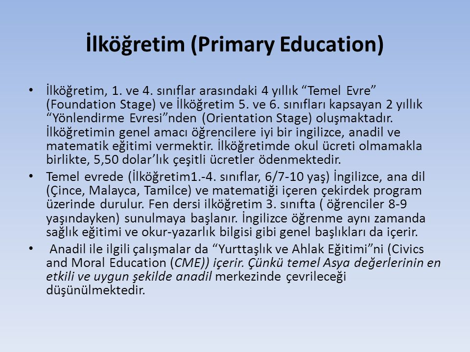 İlköğretim (Primary Education)