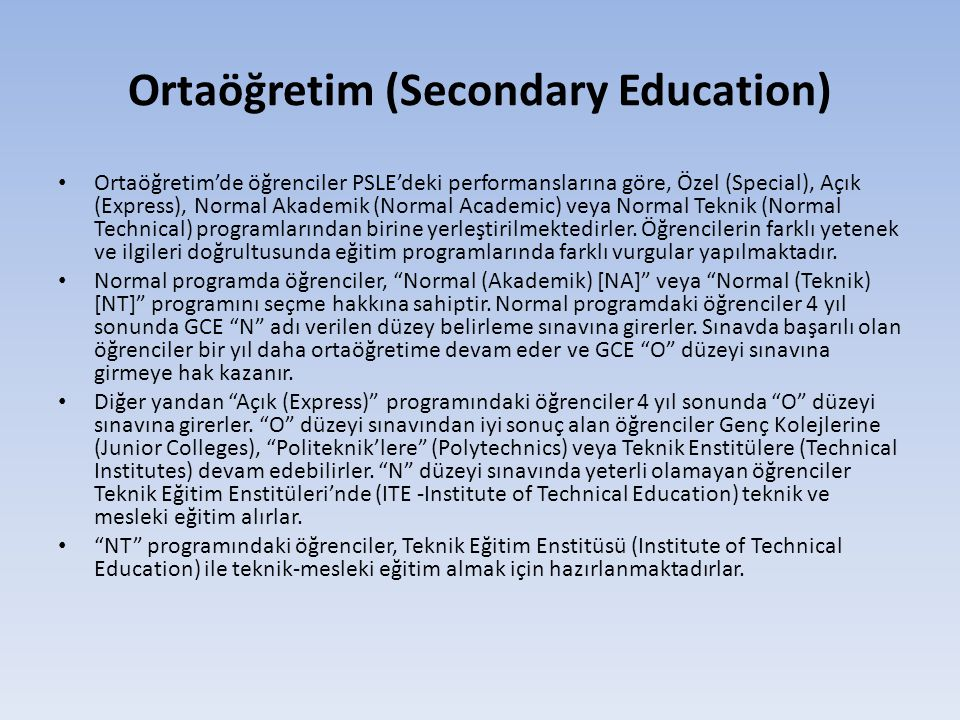 Ortaöğretim (Secondary Education)