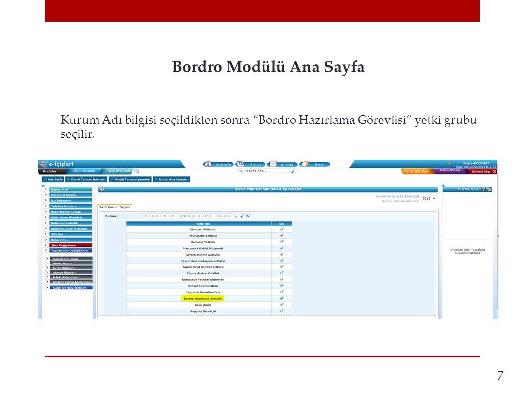 Bordro Modülü Ana Sayfa