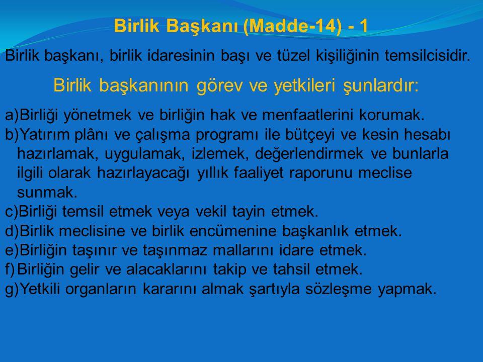 Birlik Başkanı (Madde-14) - 1
