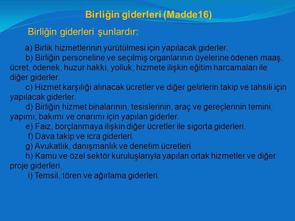 Birliğin giderleri (Madde16)