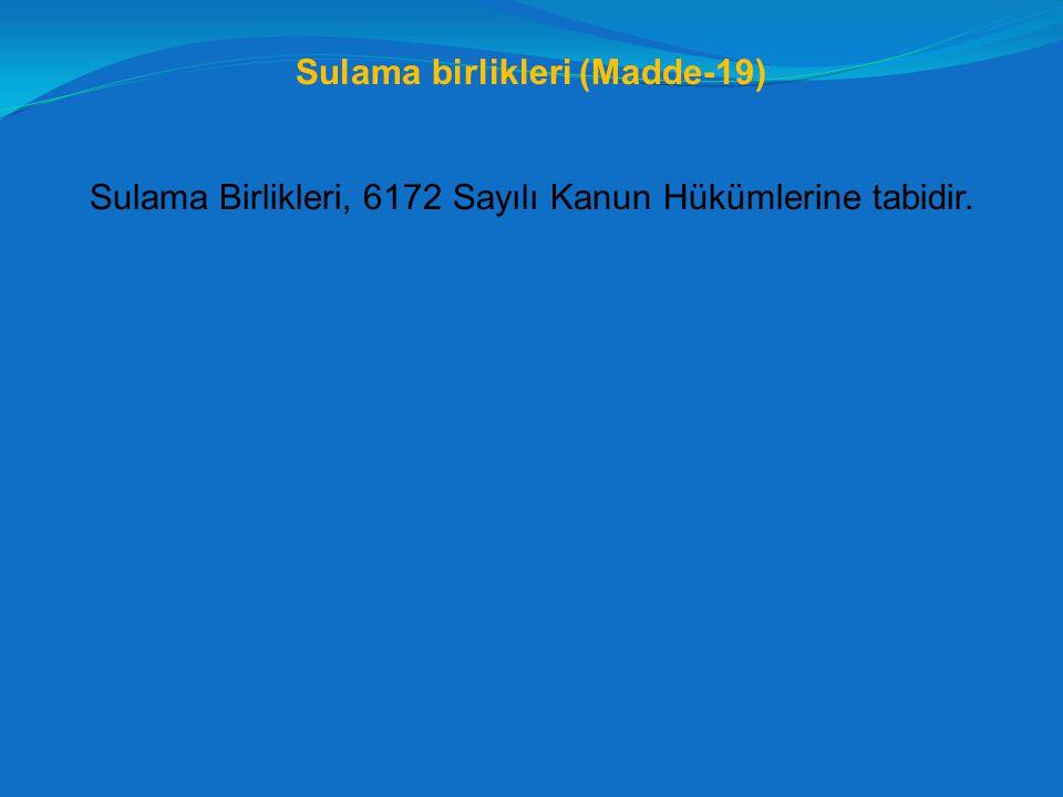 Sulama birlikleri (Madde-19)